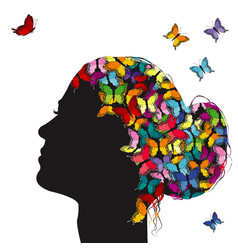 profile a girl with colorful butterflies vector image