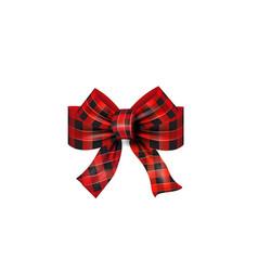 Red tartan bow christmas vector