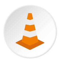 Road sign cone icon flat style vector