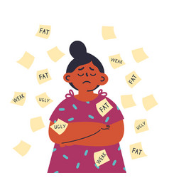 Sad girl with offensive inscriptions on stickers vector