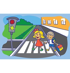 schoolchild crossing at pedestrian crossing vector image