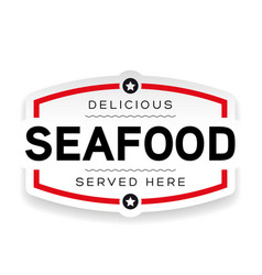seafood label vintage sign vector image