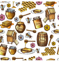seamless honey sketch vector image