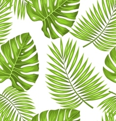 seamless wallpaper with green tropical leaves vector image