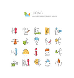 Set line icons space business vector