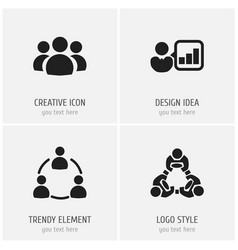 set of 4 editable cooperation icons includes vector image
