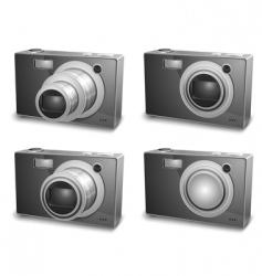 Silver photo cameras vector