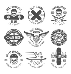 Skateboarding black emblems vector