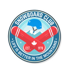 snowboard club concept for shirt print vector image