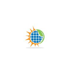solar panel sun green leaf logo vector image