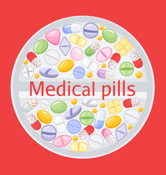 tablet design of different colorful pillsmedicine vector image