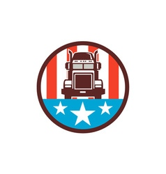 Truck USA Flag Circle Retro vector