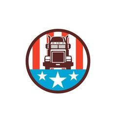 Truck USA Flag Circle Retro vector image