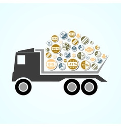 Truck with color stickers for sale and discount vector