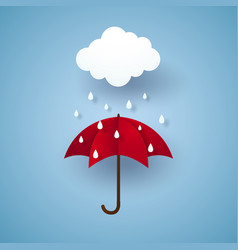 Umbrella with rain rainy season paper art style vector