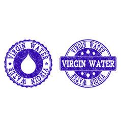 virgin water grunge stamp seals vector image