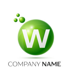 w letter splash green dots and bubbles number vector image