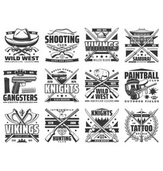 Weapon guns paintball and hunting icons vector