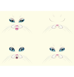 White Cat Face with Blue Eyes vector image