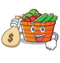 With money bag fruit basket character cartoon vector