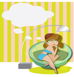 woman relaxing on a sofa with speech bubble vector image