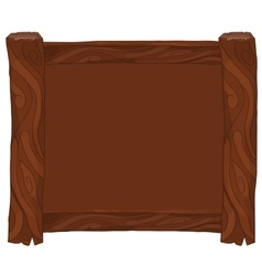 Dark brown wooden frame on white background vector image vector image