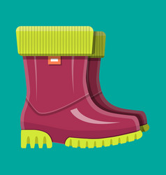 rubber boots shoes for rain waterproof footwear vector image