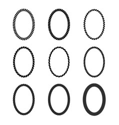 set of monochrome black oval rope frame vector image