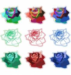 simple coloured rose icons vector image vector image