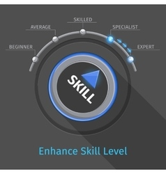 Skill levels knob button or switch vector image