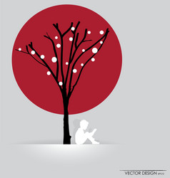 Tree background with child reading vector image