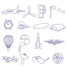 blue aeronautical and aviation outline icons set vector image vector image