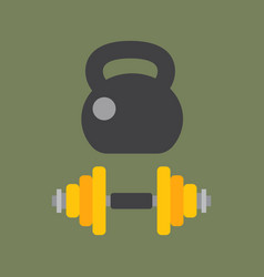 Dumbbells stack lined up rack with metal chrome vector