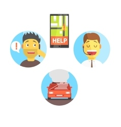 Evacuation Service App And Operator Helping The vector image vector image