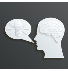 Paper Headmind Brain in Head Silhouette Generate vector image