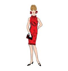 stylish woman fashion dressed girl 1960s style vector image