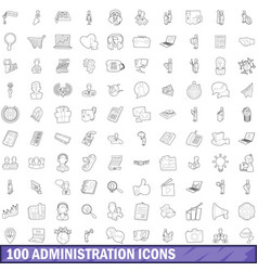 100 administration icons set outline style vector image vector image