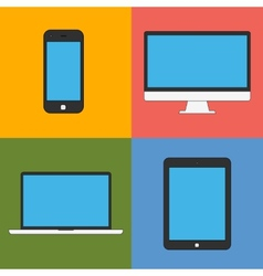 laptop tablet computer monitor and smartphone flat vector image vector image