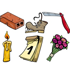 objects cartoon clip arts set vector image