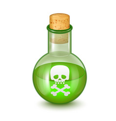realistic detailed glass bottle of green toxic vector image vector image