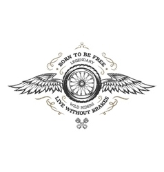 Wheel and wings in vintage style vector image