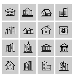 black real estate set vector image vector image