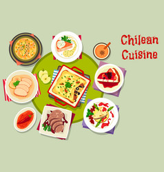 chilean cuisine icon with seafood and meat dishes vector image