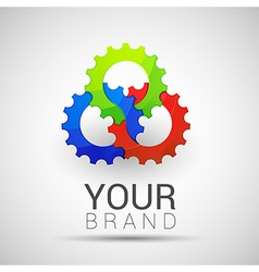 Creative colorful logo abstract shapes 3 gear vector image