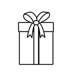 gift box ribbon bow party linear vector image