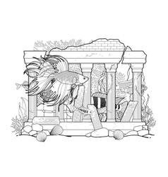 Graphic aquarium fish with architectural sculpture vector image vector image