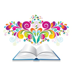 Open book with color splash and curl vector image vector image