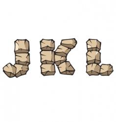stone Alphabet jkl vector image