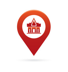 Temple monastery map pointer icon marker gps vector