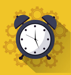 Time clock alarm work team icon vector